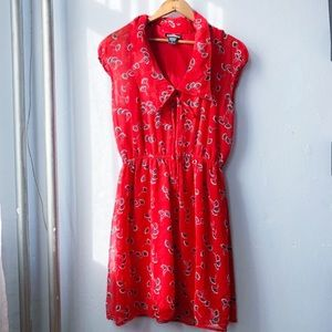 Urban Outfitters Red Floral Peter Pan Collar Dress